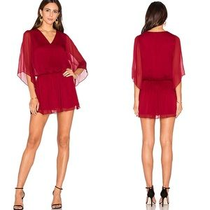 Alice + Olivia Blouse dress red with black lace